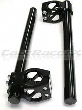 35mm Clip On Handlebars Black Billet Aluminum Cafe Racer Superbike Clip-ons