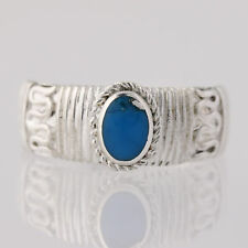 Turquoise Ring - Sterling Silver Size 7 Oval Solitaire Women's Birthtstone