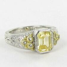 Judith Ripka Estate Collection Ring Canary White Sapphire 18k 925 Sz 7 NWT $400