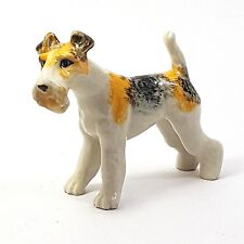 Vintage Fox Terrier Dog Ceramic Figurine Miniatures Collectibles Animals Decor