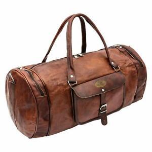 Vintage Handmade Genuine Leather Duffel Luggage Travel Overnight Weekender Bag