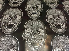 Luxurious skulls Design Heavy duty upholstery vinyl black and white. Sold By The