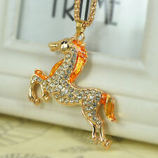 Cute Horse Sweater Bead Necklace Rhinestone Crystal Pendant Chain Christmas Gift
