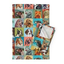 Paint Number Dogs Dachshund Bulldog Linen Cotton Tea Towels by Roostery Set of 2