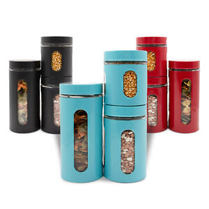 3pc Air Tight Food Containers Set Stainless Steel Glass Canisters For Kitchen