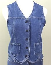 Eddie Bauer Womens Sz S Blue Denim Jean Vest Button Front 100% Cotton Size S