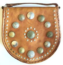 RARE VINTAGE WORLD COINS LEATHER PURSE POCKETBOOK HAND MADE MOROCCAN COIN BAG