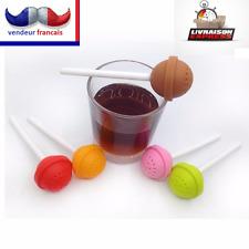 """jolie boule à thé filtre infuseur a thé """"sucette"""", couleur marron ;"""