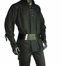 Black Cotton Kilt Shirt Medieval Pirate LARP Halloween Long Sleeves Costume