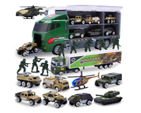 10 In 1 Die-Cast Military Truck Army Vehicle Mini Battle Car Toy Set In Carrier