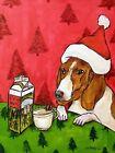 Basset hound christmas egg nog  picture  DOG ART NOTE CARDS