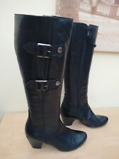 Jones black leather knee length boots size uk 4 eu 37