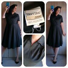 Beautiful 1970s Trevira black pleat tea dress sz Large uk 16 18