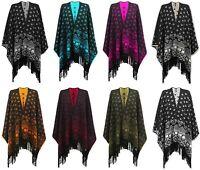 New Ladies Knitted Reversible Tassel Poncho Aztec Wrap Shawl Cardigan Plus Size