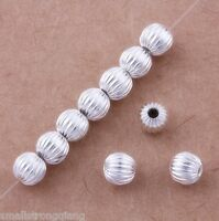 100 Pcs Silver Plated Loose spacer Beads Bracelets findings charms 6mm