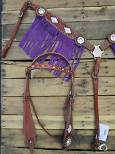 WESTERN HEADSTALL BREAST COLLAR PURPLE BARREL RACING HORSE TACK SHOW LEATHER SET