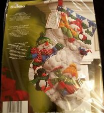 "New 2008 Bucilla Christmas 18"" Snow Fun Felt Stocking Kit  86108"