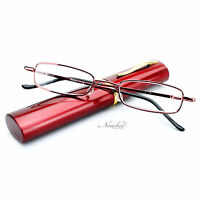 "Red Readers Compact Tube Reading Glasses Aluminium Hard Case ""Ruby Red"""