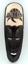 Masque ethnique tortue déco Africaine tribale en bois 32 cm