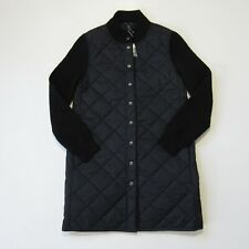 NWT Eileen Fisher Stand Collar Jacket Black Quilted Nylon Wool Sleeve Coat M