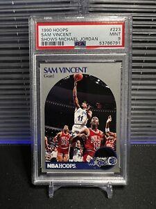 Sam Vincent w/ Michael Jordan 1990-91 Hoops #12 Jersey #223 PSA 9 Chicago Bulls