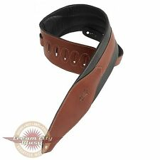 """Brand New Levy's Carving Leather Bass Guitar Strap 3 1/2"""" Padded Brown"""