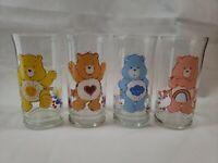 Vintage Pizza Hut Care Bears Glasses Lot of 4 1983 Lim Ed Excellent Condition