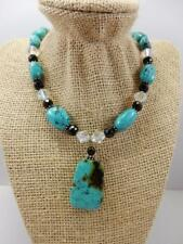 Bold Large Beaded Turquoise Drop Pendant Necklace, Crystal Beaded, 925 SX, #B2
