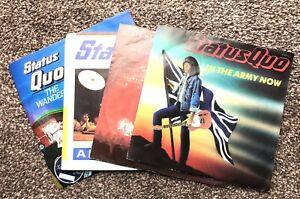 """STATUS QUO 4 7"""" VINYL RECORD SINGLES BUNDLE ARMY NOW MESS OF BLUES WANDERER FOOL"""