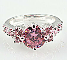 Fashion Woman Round Cut 2.55ct Pink Sapphire 925 Silver Wedding Ring Size 9