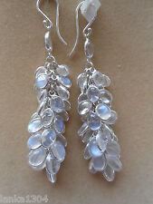 Sterling Silver Sri Lankan Blue Moonstone Bunch Long Earrings (13E8) (NEW)