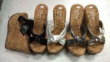 "New Women Cork Comfort Platform high Wedge bow tie Slides Sandal Shoes 5"" Heel."