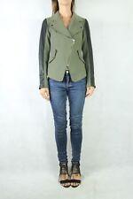 BARDOT Khaki Leather Sleeve Biker Jacket Size 8