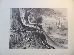 The Savannah River At Augusta Georgia Antique Engraving 1872