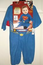 New Boys size 1-2 Years Superman Costume Jumpsuit with Removable Cape Halloween