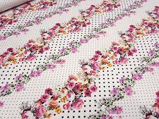 Stoff Baumwolle Jersey Blumen Punkte Pünktchen rosa rot orange Kleiderstoff