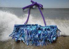 Justice Swim 14 Purple & Blue Shimmer Fringe Bathingsuit Bikini Top