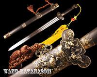 Ebony 1095 Steel Auspicious Chinese Jian 剑 Handmade Double Edge Sharp Sword