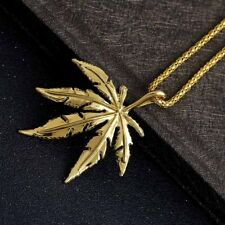 Fashion Man Maple Leafs Gold Hip Pop Punk pendant Long Chain Plated Necklace New
