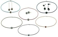 NEW Tahitian Pearl Cord Necklace-Custom Made-Satin Leather Suede-Black-Any Color