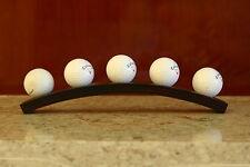 5 golf ball display rack, trophy golf ball stand, brown walnut finish.