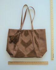 Women's Sonoma Cognac BROWN Tote Purse Ladies Hand Bag Style Patch Work Tassel