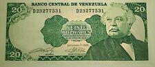 BILLETES DE VENEZUELA 20 Bs. BOLÍVARES BOLÍVAR UNC FUERA DE CIRCULACIÓN RARO