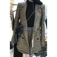 Women's Chic Grid Lapel Slim Fit Blazers A-line Business Dress Suits Coat+Skirt