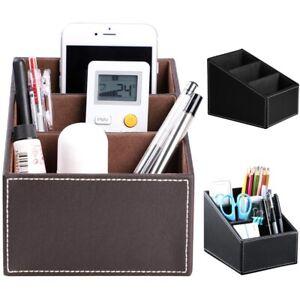 Phone And TV Remote Control Organizer Desk Storage Box Holder Home PU Leather UK