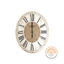 Hotel Westminster Oval Distressed White Wall Clock Roman Numerals Clock 80x60 cm