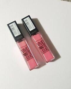 2x Maybelline Color Sensational Vivid Matte Liquid Lipstick, 15 Pink Charge