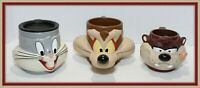 3 Warner Bros. Looney Tunes, Wiley E. Coyote, Bugs Bunny and Taz cups 1992