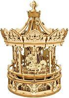 Rokr 3D Wooden Puzzle Romantic Carousel Music Box Mechanical Model Building Kit