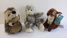 Lot of 3 Kamik Plush Stuffed Animal Collectible Toys Fawn Monkey Hedgehog